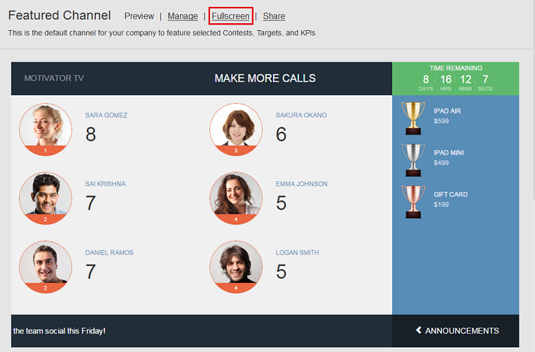Sales leaderboard TV channel for sales contests