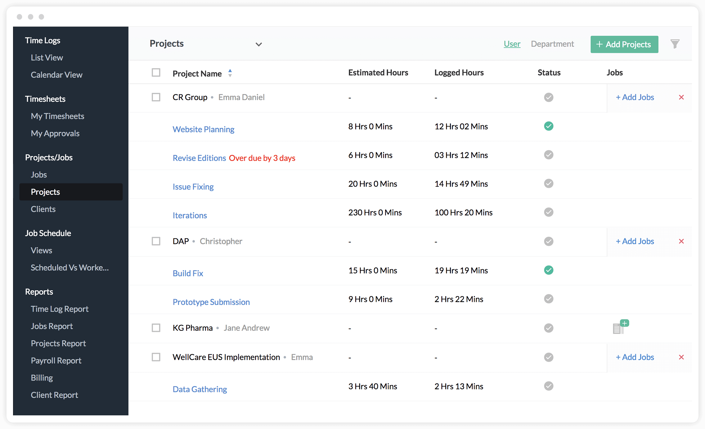 Scheduling for Projects and One Time Jobs