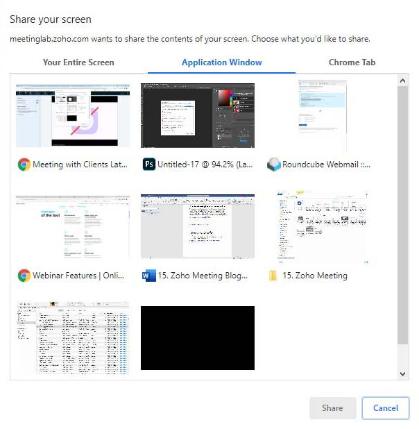 Share A Specific Application Window