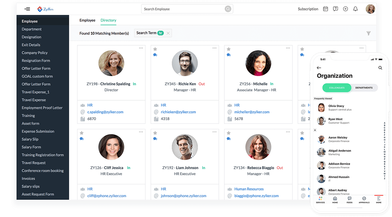 """Employee Directory Searching the term""""HR"""", view of Zoho People user interface"""