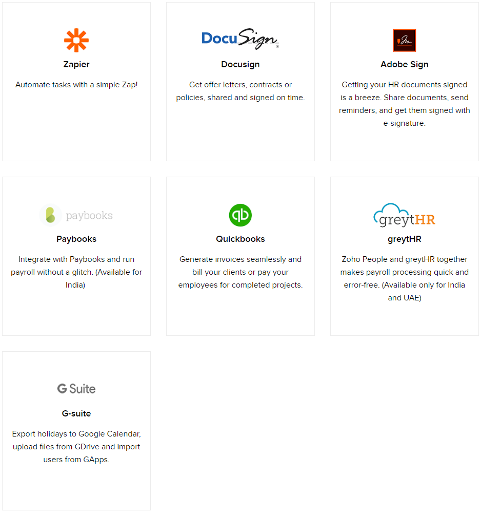 Zoho People integration with Zapier, DocuSign, Adobe Sign, Paybooks, Quickbooks, greytHR, and G-Suite