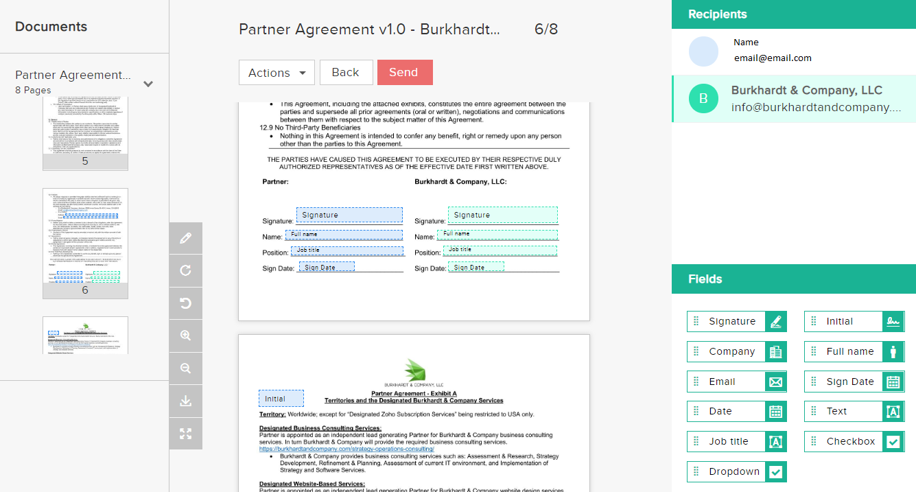 Contract Software Example Screen
