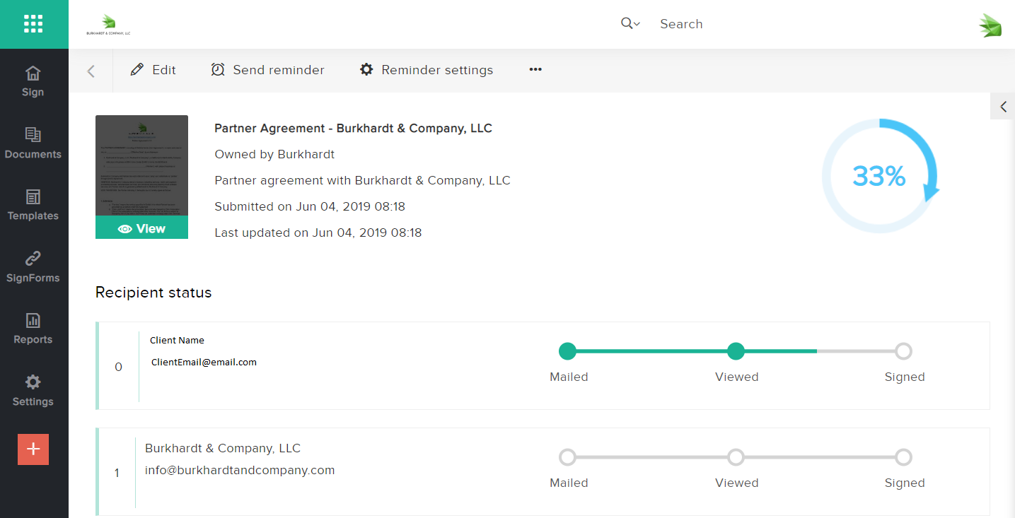 Get real time updates in the software when any of your contracts are viewed or signed