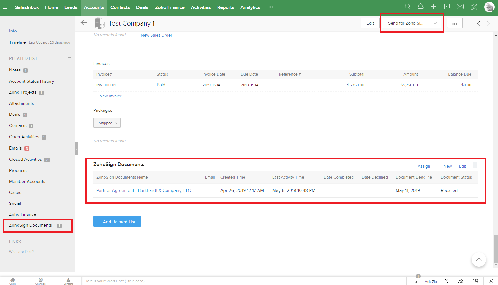 Three highlighted additions with Zoho Sign's integration into Zoho CRM on the client's CRM page