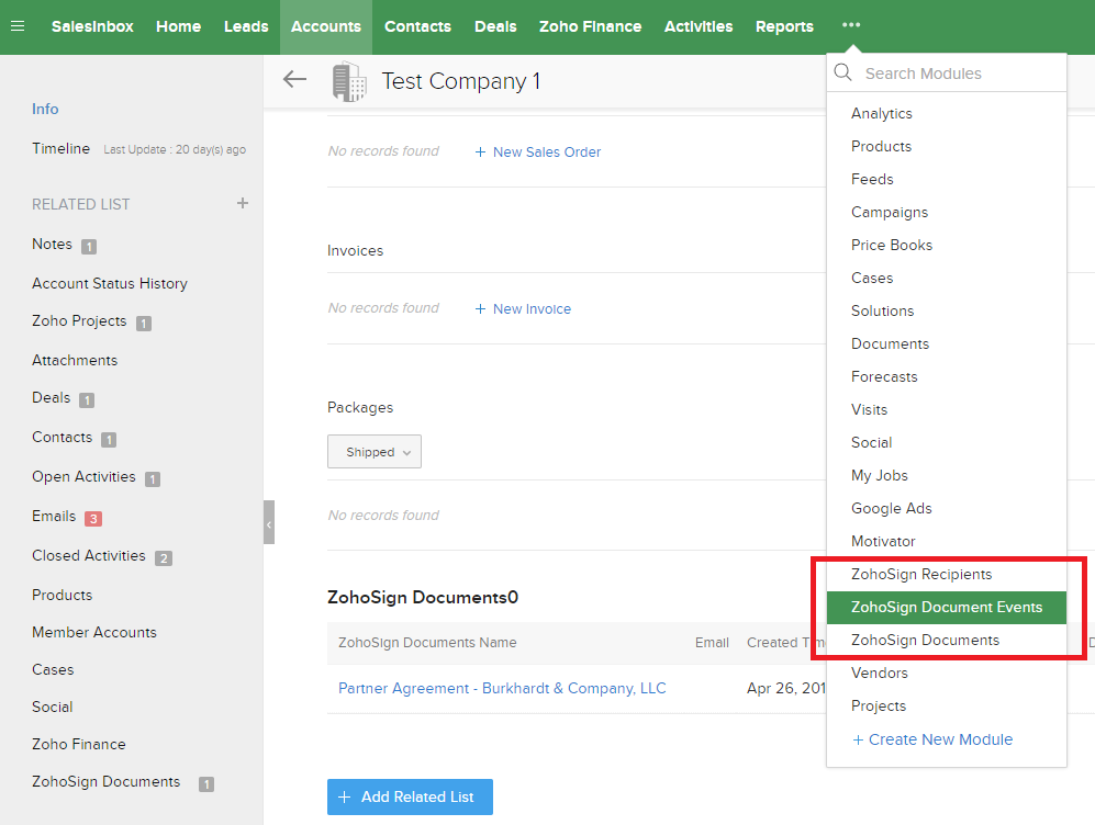 Contract Software Integration with Zoho CRM, additional Modules from Zoho Sign