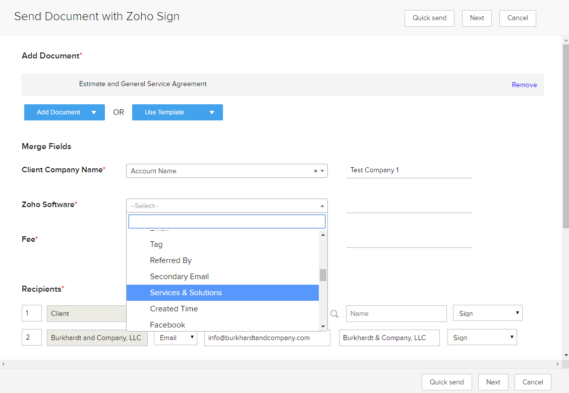 Zoho CRM integration with Zoho SIgn showing how to insert data automatically into your contract