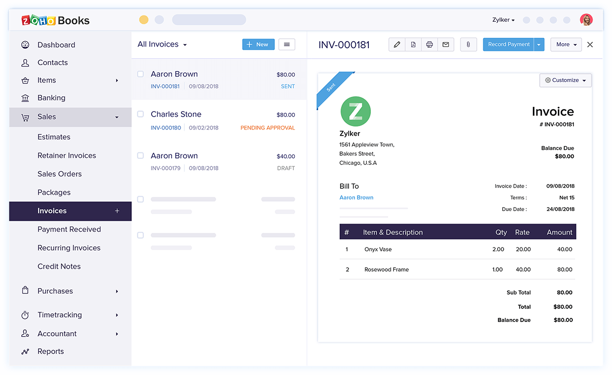 Manage your invoices and check which invoices are sent, pending approval, approved, etc.