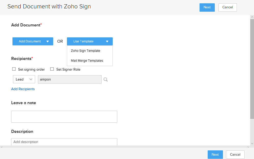 Send Document with Zoho Sign using the customer relationship management solutions offered